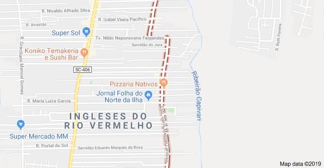 Rua Dário Manoel Cardoso nos Ingleses do Rio Vermelho